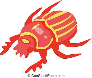 Red scarab icon, isometric style