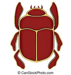 Red scarab isolated on a white background.