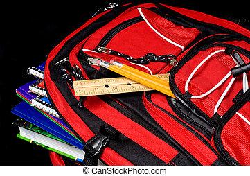 Red School Backpack - A red school backpack full of school...