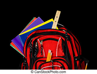 Red School Backpack - A red school backpack stuffed full of...