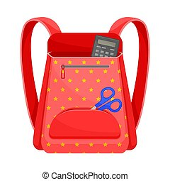 Red school backpack. Vector illustration on a white background.