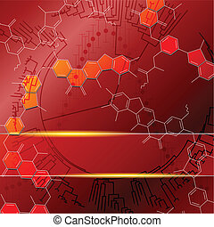 Red background with molecules. Graphics are grouped and in several layers for easy editing. The file can be scaled to any size.