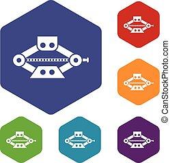 Red scissor car jack icons set rhombus in different colors...