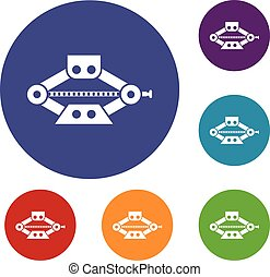Red scissor car jack icons set in flat circle reb, blue and...