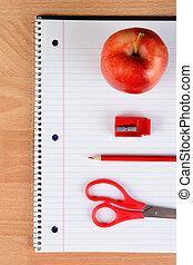 Red Scissors Pencil Apple and Sharpener