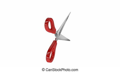 Red scissors, spins on white background