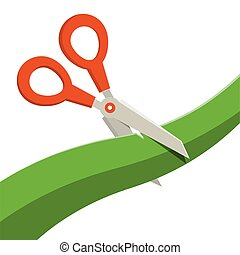 Red Scissors with Green Ribbon Isolated on White Background. Vector.