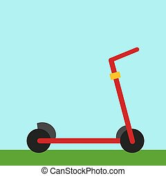 Red scooter, illustration, vector on white background.