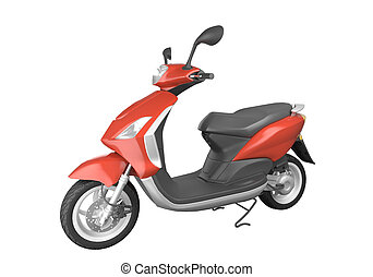 red scooter isolated on white background. This image contains a clipping path