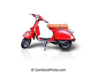 Red scooter - Photo of red scooter on the white background