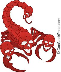 Red scorpion with a head skull (ornate), cartoon on a white background, vector