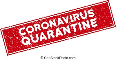 Red Scratched Coronavirus Quarantine Rectangle Stamp Seal