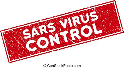 Red Scratched Sars Virus Control Rectangular Stamp Seal