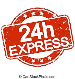red scratched stamp 24h express - red round stamp with...