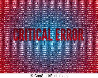 Red screen binary code screen - Critical error computer...