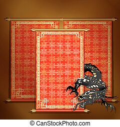 Red scroll with Asian dragon