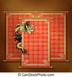 Red scroll with chinese dragon