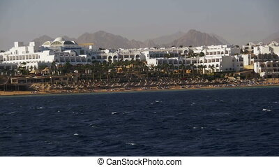Red Sea coast with beaches and hotels. Boat Trip Sinai...
