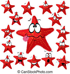 Red sea star cartoon with many expressions isolated on white...
