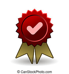 Red seal with gold ribbons - Vector red seal with gold ...