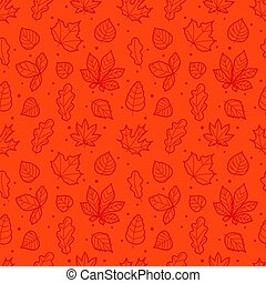 Red seamless background with autumn leaves