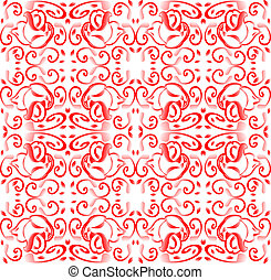red Seamless background with floral