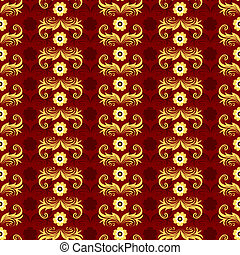 Red seamless floral pattern (vector)
