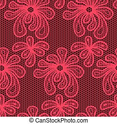 Red seamless flower lace pattern
