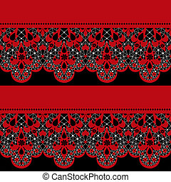 Red seamless lace pattern on black