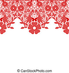 Red seamless lace pattern on white