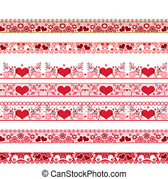 Red seamless lace pattern with hearts on white