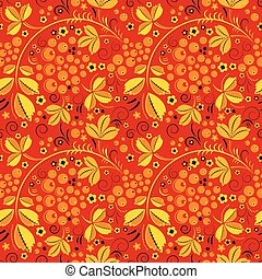 red seamless pattern in floral folk tradition