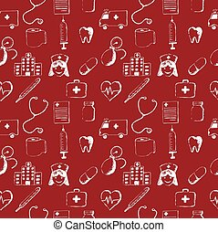 Red seamless pattern-medical items