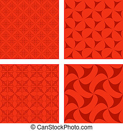 Red seamless pattern set