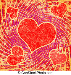 red seamless pattern with grunge heart