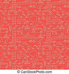 Red Seamless Transport Pattern