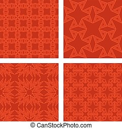 Red seamless triangle pattern background set