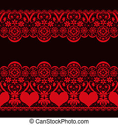 Red seamless valentine lace pattern texture on black