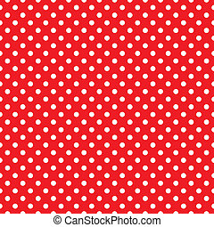 Red seamless vector dots pattern - Retro seamless vector...
