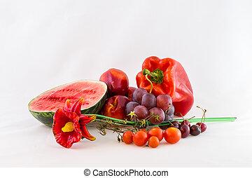 Red seasonal vegetables
