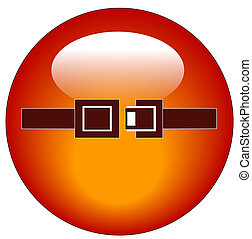 red seatbelt indicator web button or icon