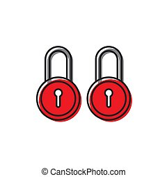 red security Lock Icon Flat Graphic Design isolated on white