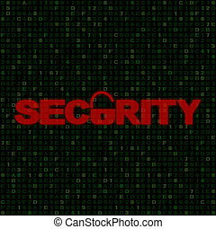 Red Security text with open padlock on hex code illustration