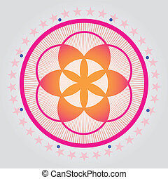Red seed of a flower of life vecto - Sacred geometry-Flower...