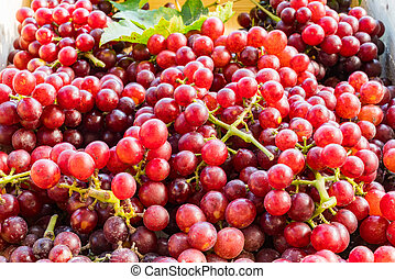 Red seedless grapes with leaves