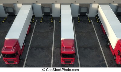 Red semi-trailer trucks at warehouse loading dock. Seamless ...