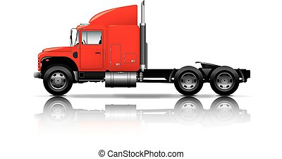 red semi-truck isolated on white background