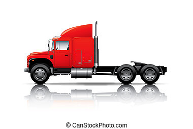 red semi-truck isolated on white ba