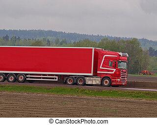 Red semi truck