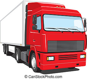 Red semi truck - Vector isolated semi truck on white...